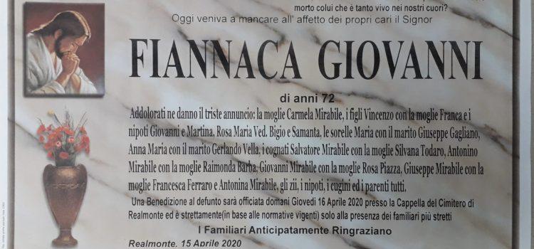ANNUNCIO FUNEBRE – Fiannaca Giovanni