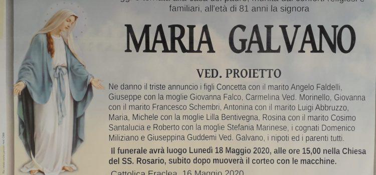 ANNUNCIO FUNEBRE – Maria Galvano